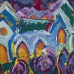 Marburg Alte Uni ca. 1995 / Tempera auf Karton / 100 x 70 cm