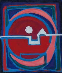 Tibetisch 1998 / Mischtechnik auf Pappe / 50 x 58 cm