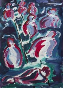 Jakobsleiter 2012 / Acryl auf Karton / 50 x 70 cm