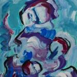 Mutter und Kind II ca 2008 / Acryl auf Papier 50×60 cm